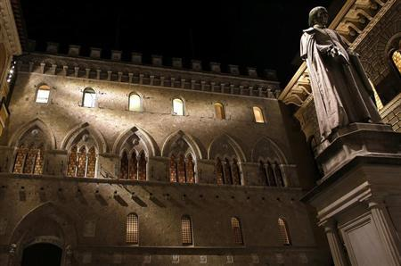The Monte Dei Paschi bank headquarters is pictured in Siena January 24, 2013. At the news conference on February 7, 2013, European Central Bank (ECB) President Mario Draghi can expect to be asked how much he knew about the derivatives scandal at Monte Paschi, and what he did about it when he headed Italy's central bank from 2006 to 2011. Picture taken January 24, 2013. REUTERS/Stefano Rellandini