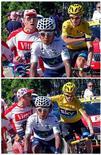 Combinação de duas fotos mostra ciclista da Team Sky Christopher Froome (amarelo) afastando espectador de sua frente durante etapa de 125 quilômetros do Tour de France, disputada neste sábado.