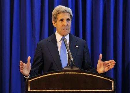 U.S. Secretary of State John Kerry speaks during a news conference at Queen Alia International Airport in the Jordanian capital of Amman July 19, 2013. REUTERS/Mandel Ngan/Pool