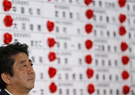 Japan's Prime Minister Shinzo Abe, and the leader of the ruling Liberal Democratic Party (LDP), listens to a question during an interview by a television program as rosettes on a name of a candidate, which are attached on the names expected to win, at the party headquarters in Tokyo July 21, 2013. REUTERS/Issei Kato