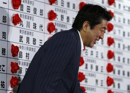 Japan's Prime Minister and leader of the ruling Liberal Democratic Party (LDP) Shinzo Abe smiles as he leaves an election campaign center at the LDP headquarters in Tokyo July 21, 2013, after an upper house election. REUTERS/Issei Kato