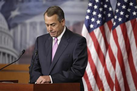 U.S. House Speaker John Boehner (R-OH) pauses during remarks to reporters in a news conference on Capitol Hill in Washington, June 27, 2013. REUTERS/Jonathan Ernst