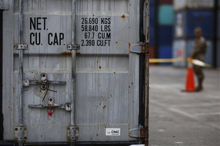 One of the three containers on board seized North Korean ship ''Chong Chon Gang'' found with possible explosive material, is pictured at the Manzanillo Container Terminal in Colon City July 19, 2013. REUTERS/Carlos Jasso