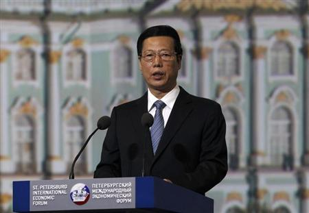Chinese Vice Premier Zhang Gaoli delivers a speech during a session of the St. Petersburg International Economic Forum in St. Petersburg, June 21, 2013 file photo. REUTERS/Alexander Demianchuk