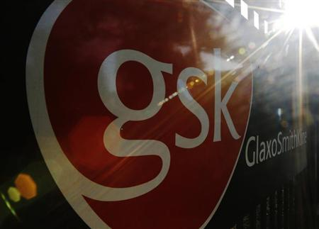 The signage for the GlaxoSmithKline building is pictured in Hounslow, west London June 18, 2013. REUTERS/Luke MacGregor