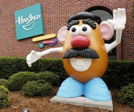 A statue of Hasbro's iconic Mr. Potato Head character is pictured in front of the Company's global corporate headquarters in Pawtucket, Rhode Island, in this picture released to Reuters on October 19, 2009. REUTERS/Hasbro, Inc./Handout