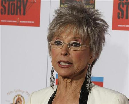 Cast member Rita Moreno poses as she arrives for a screening in honor of the ''West Side Story: 50th Anniversary Edition'' Blu-ray release in Hollywood, California November 15, 2011. REUTERS/Fred Prouser