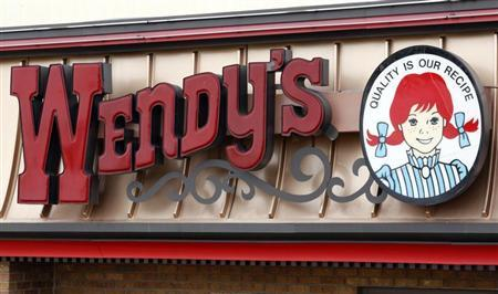 The Wendy's signage is pictured at a Wendy's restaurant in Westminster, Colorado March 2, 2009. REUTERS/Rick Wilking