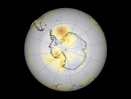 Ozone pollution in the Northern Hemisphere, churned out by factories and vehicles that burn fossil fuels, is a major factor in the dramatic warming of the Arctic zone, NASA scientists reported on March 14, 2006. REUTERS/NASA/Handout