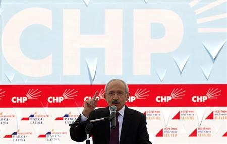 Turkey's main opposition Republican People's Party (CHP) leader Kemal Kilicdaroglu addresses his supporters during a demonstration in Ankara March 27, 2012. REUTERS/Umit Bektas