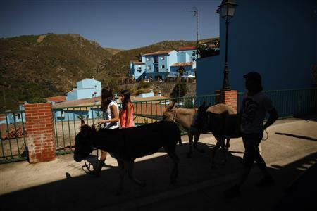 People walk with African donkeys at a street during the promotional event for the film ''The Smurfs 2'', in the Andalusian village of Juzcar, near Malaga, southern Spain, July 23, 2013. The facades of the houses were painted blue in 2011 as part of a global promotion for the Sony Picture film ''The Smurfs''. The premiere of ''The Smurfs 2'' will be in several countries in July 28, 2013. REUTERS/Jon Nazca