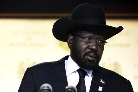 South Sudan's President Salva Kiir delivers a speech in the capital Juba, June 10, 2013. REUTERS/Andreea Campeanu/Files