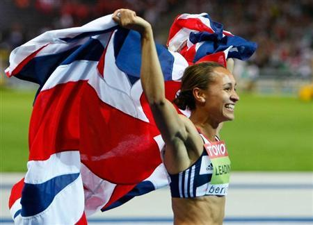 Jessica Ennis of Britain celebrates after winning the women's heptathlon during the world athletics championships at the Olympic stadium in Berlin August 16, 2009. REUTERS/Phil Noble
