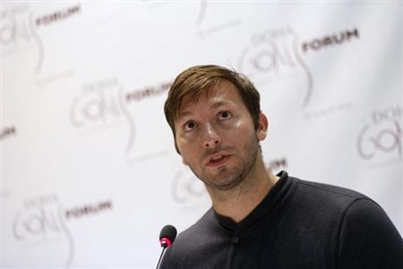 Five-time Olympic gold medallist Australia's Ian Thorpe speaks during the news conference for the Doha Gathering of All Leaders In Sport (GOALS) forum in Doha December 10, 2012 file photo. REUTERS/Fadi Al-Assaad