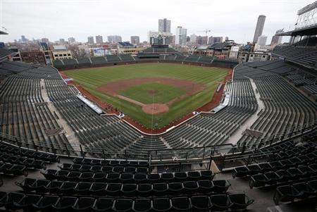 An general view of Wrigley Field in Chicago, Illinois, April 15, 2013. Chicago Cubs owner Tom Ricketts announced a $500 million development plan to renovate the 99-year-old ballpark. REUTERS/Jim Young