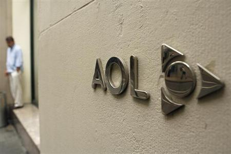 The AOL logo is seen on the outside of the building housing the companies corporate headquarters in New York May 28, 2009. REUTERS/Lucas Jackson/Files
