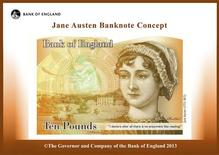 An illustration of a British ten pound Sterling banknote bearing the likeness of author Jane Austen, is seen in a picture released by the Bank of England in London July 24, 2013. REUTERS/Bank of England/Handout via Reuters