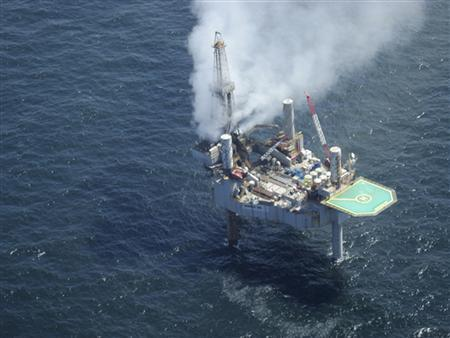 A cloud of natural gas rises from the Hercules 265 drilling rig located 55 miles (89 km) off the coast of Louisiana in the Gulf of Mexico as seen in this handout photo from the Bureau of Safety and Environmental Enforcement (BSEE) taken July 23, 2013. REUTERS/Bureau of Safety and Environmental Enforcement/Handout via Reuters
