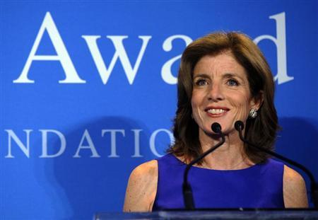 Caroline Kennedy Schlossberg, daughter of late U.S. President John F. Kennedy, speaks at the 2013 John F. Kennedy Profile in Courage Award ceremony at the Kennedy Library in Boston, Massachusetts May 5, 2013. REUTERS/Brian Snyder