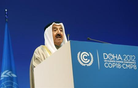 Kuwait's Emir Sheikh Sabah al-Ahmad al-Sabah talks during the opening ceremony of the plenary session of the high-level segment of the 18th session of the Conference of Parties (COP18) of the United Nations Framework Convention on Climate Change (UNFCCC) in Doha December 4, 2012. REUTERS/Fadi Al-Assaad
