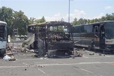 Buses that were damaged in a bomb blast on Wednesday are seen outside Burgas Airport, about 400km (248miles) east of Sofia July 19, 2012. REUTERS/Interior Ministry/Handout