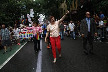 New York mayoral candidate Christine Quinn marches in the Gay Pride Parade in New York June 30, 2013. REUTERS/Eric Thayer