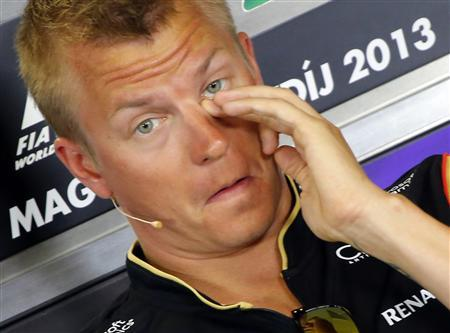 Lotus Formula One driver Kimi Raikkonen attends a news conference at the Hungaroring circuit in Mogyorod, near Budapest, July 25, 2013. REUTERS/Laszlo Balogh