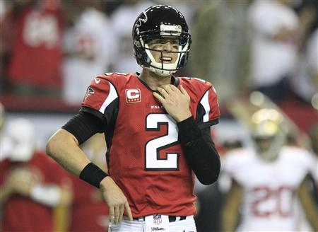 Atlanta Falcons quarterback Matt Ryan reacts after being sacked by the San Francisco 49ers during the fourth quarter in the NFL NFC Championship football game in Atlanta, Georgia January 20, 2013. REUTERS/Sean Gardner