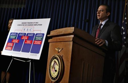 United States Attorney Preet Bharara speaks during a news conference in New York, July 25, 2013. REUTERS-Mike Segar
