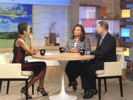 ABC reporter Robin Roberts interviews Juror B29, the only minority juror from the George Zimmerman trial, along with her lawyer David Chico (L-R) in New York, in this July 25, 2013 handout photo provided by ABC. REUTERS/ABC/Donna Svennevik/Handout