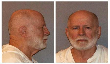 Former mob boss and fugitive James ''Whitey'' Bulger, who was arrested in Santa Monica, California on June 22, 2011 along with his longtime girlfriend Catherine Greig, is seen in a combination of booking mug photos released to Reuters on August 1, 2011. REUTERS/U.S. Marshals Service/U.S. Department of Justice/Handout