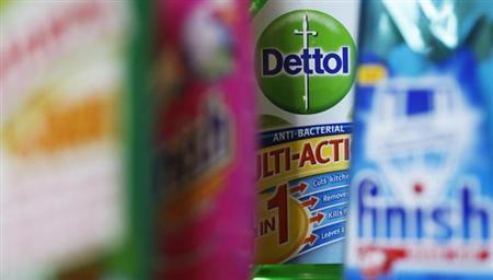 Products produced by Reckitt Benckiser; Harpic, Vanish, Dettol and Finish, are seen in London February 12, 2008.REUTERS/Stephen Hird