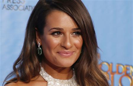 Lea Michelle, from the TV series ''Glee,'' poses backstage at the 70th annual Golden Globe Awards in Beverly Hills, California, in this January 13, 2013 file photo. REUTERS/Lucy Nicholson/Files