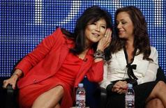 Co-hosts Julie Chen (L) and Leah Remini joke during the CBS, Showtime and the CW Television Critics Association press tour in Beverly Hills, California, July 28, 2010. REUTERS/Lucy Nicholson