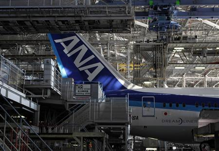 An All Nippon Airways' (ANA) Boeing 787 Dreamliner aircraft is seen at ANA's maintenance center in Tokyo, in this April 28, 2013 file photo. REUTERS/Yuya Shino/Files
