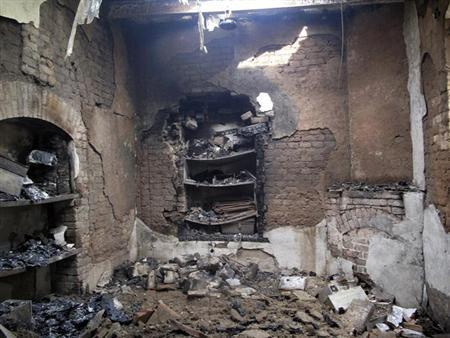 Burnt rooms inside a prison are seen following a Taliban attack in Dera Ismail Khan July 30, 2013. REUTERS/Stringer