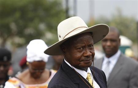 Uganda's President Yoweri Museveni arrives for an anniversary parade in Kasese town, 497km (309 miles) west of Uganda's capital Kampala, January 30, 2013. REUTERS/James Akena