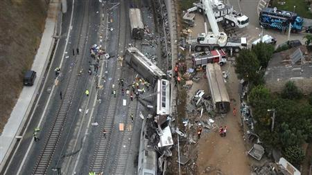 An overhead view of the wreckage of a train crash is seen near Santiago de Compostela, northwestern Spain, in this still image from video, July 25, 2013. REUTERS/Aeromedia.es