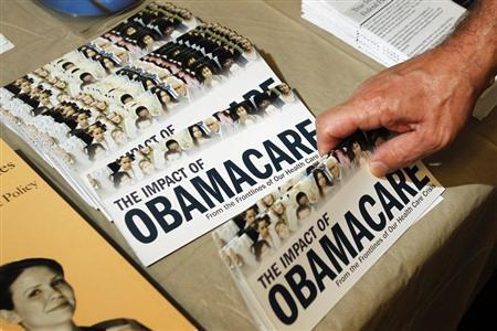 A Tea Party member reaches for a pamphlet titled ''The Impact of Obamacare'', at a ''Food for Free Minds Tea Party Rally'' in Littleton, New Hampshire in this October 27, 2012 file photo. REUTERS/Jessica Rinaldi//Files