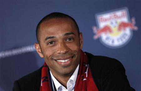 France striker Thierry Henry addresses a news conference after joining Major League Soccer (MLS) team New York Red Bulls at Red Bull Arena in Harrison, New Jersey, July 15, 2010. REUTERS/Mike Segar