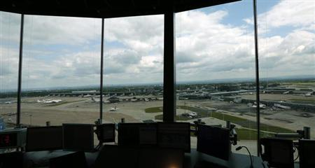 Aircraft are seen from the new control tower at Manchester Airport, northern England June 25, 2013. REUTERS/Phil Noble