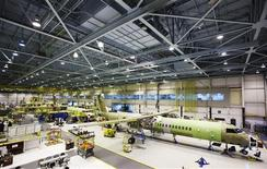 Bombardier q400 airplanes are seen being assembled at the Bombardier aircraft manufacturing facility in Toronto, November 25, 2010. REUTERS/Mark Blinch