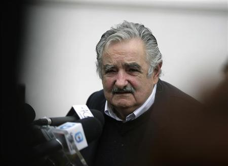 Uruguayan President Jose Mujica speaks to the media after a joint news conference in Santana Do Livramento, July 30, 2010. REUTERS/Andres Stapff