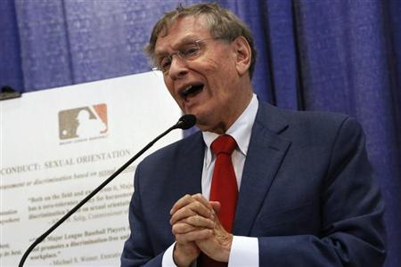 Major League Baseball Commissioner Bud Selig talks about MLB's policies against harassment and discrimination based on sexual orientation during a news conference in New York, July 16, 2013. REUTERS/Brendan McDermid