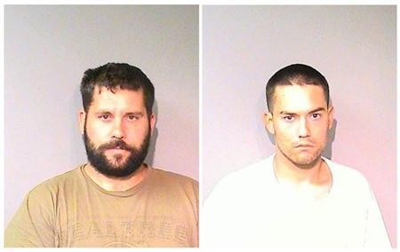 Ryan Balletto, 30, (L) and Patrick Pearmain, 25, are pictured in a combination of arrest photos that was relased by the Lake County Sheriff's Office in Lakeport, California on July 26, 2013. REUTERS/Lake County Sheriff's Office/Handout via Reuters