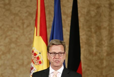 German Foreign Minister Guido Westerwelle speaks during an informal European Union foreign ministers gathering in Palma de Mallorca July 19, 2013 file photo. REUTERS/Enrique Calvo