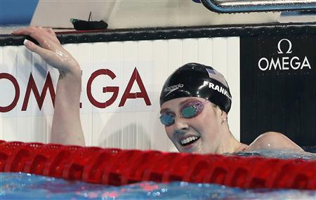 Missy Franklin of the U.S. reacts after winning the women's 200m freestyle final during the World Swimming Championships at the Sant Jordi arena in Barcelona July 31, 2013. REUTERS/Albert Gea