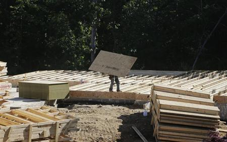 A lone carpenter carries plywood flooring at a building site of Mid-Atlantic Builders' 'The Villages of Savannah' in Brandywine, Maryland May 31, 2013. REUTERS/Gary Cameron