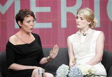 "Actresses Olivia Coleman (L) and Jodie Whittaker stars of the new series ""Broadchurch"" on the BBC America cable channel take part in a panel discussion at the Television Critics Association Cable TV Summer press tour in Beverly Hills, California July 25, 2013. REUTERS/Fred Prouser"