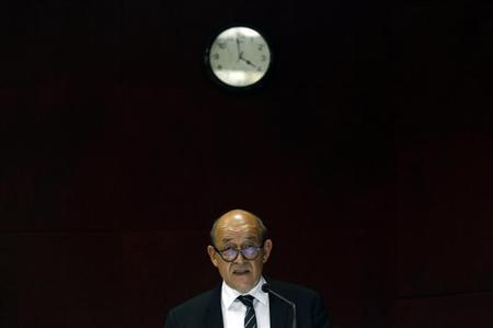 French Defence Minister Jean-Yves Le Drian addresses a gathering at the Institute for Defence Studies and Analyses (IDSA) in New Delhi July 26, 2013. REUTERS/Anindito Mukherjee